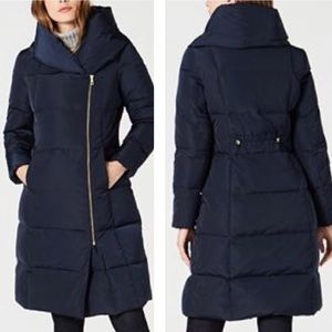 COLE HAAN SIGNATURE Coat Long Down Puffer Blue Sm